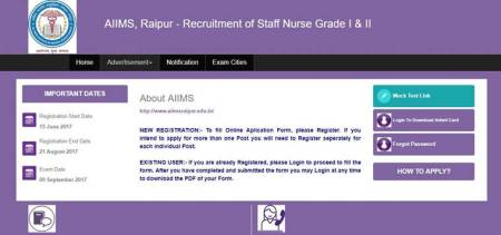 AIIMS Raipur nurse grade I, II recruitment 2017 admit cards released at aiimsraipur.edu.in