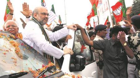 Three-day visit: BJP chief Amit Shah arrives in Hooda stronghold ofRohtak