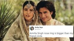 amrita singh nose ring, amrita singh nose ring viral, amrita singh saif ali khan photo viral, amrita singh photo viral, amrita singh saif ali khan wedding photo viral on internet, indian expres, indian express news