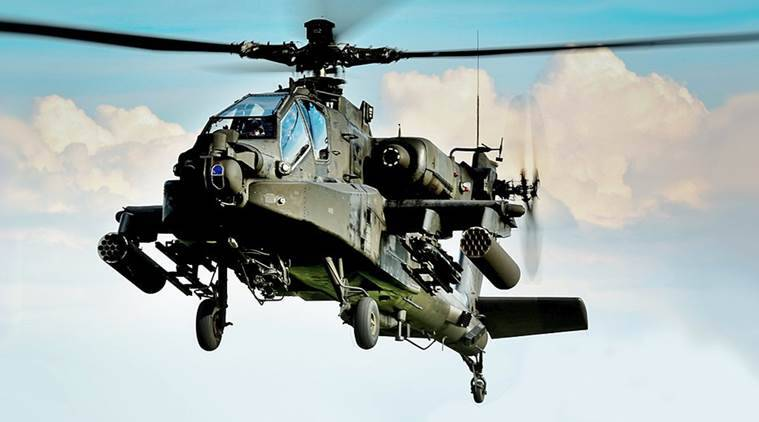 An Apache attack helicopter from the US Army's 1st battalion