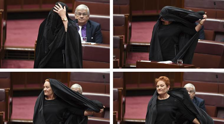 australian senator, Pauline Hanson, australian senator burqa, australian senator wears burqa in senate, australia burqa ban, indian express news