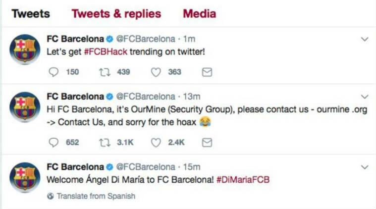Barcelona Twitter account hacked as club 'announce' signing of Angel Di Maria