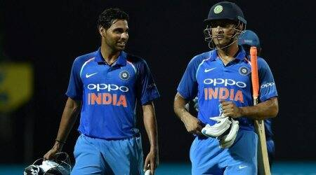 MS Dhoni to Bhuvneshwar Kumar during 100-run stand: 'Bat like you do in Tests'
