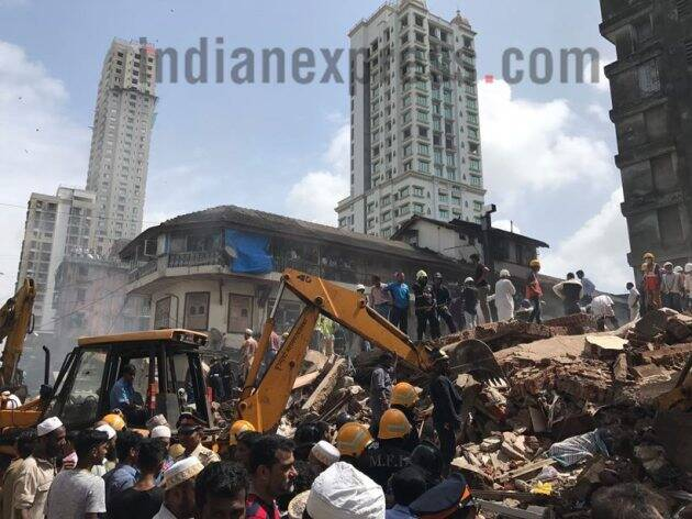 mumbai building collapse, mumbai building, building collapse photos, mumbai building photos, byculla building collapse, mumbai rain, mumbai building accident, byculla building accident, india news, mumbai news
