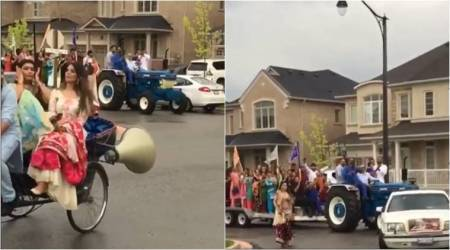 WATCH: Groom enters wedding in a TRACTOR! That's desi swag in Canada