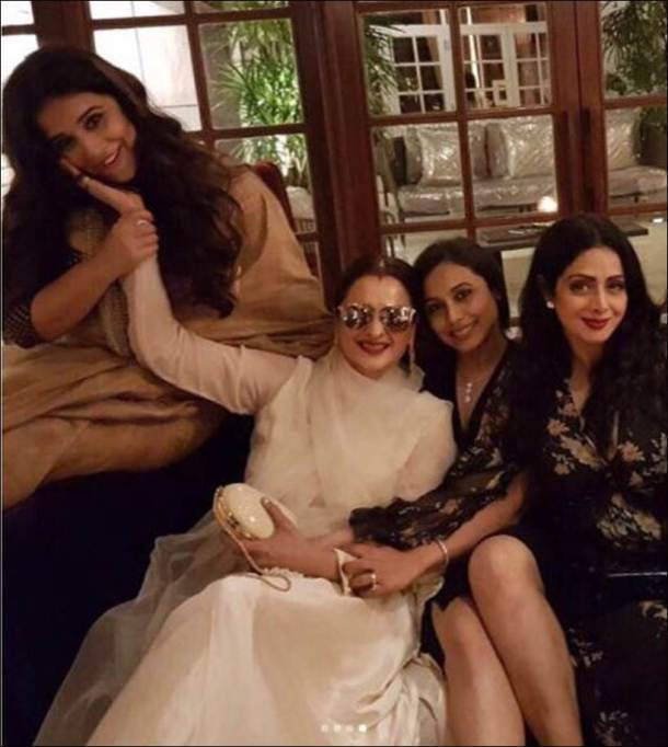 sridevi birthday, sridevi birthday party, sridevi birthday photos, manish malhotra house party, bollywood divas, rekha, vidya balan, aishwarya rai