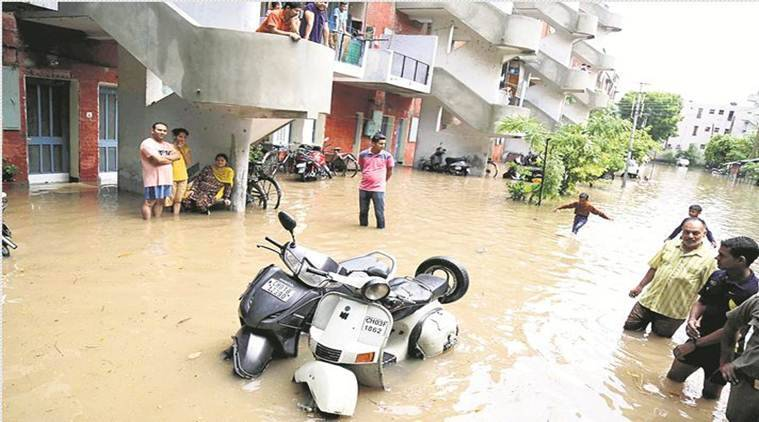 Chandigarh Rains, Sukhna lake Chandigarh Heavy Rainfall in Chandigarh, Water logging in Chandigarh, Chandigarh Monsoon, Chandigarh Heavy Downpour, Rain Showers in Chandigarh, Chandigarh monsoon, Chandigarh weather forecast, Chandigarh news, indian express news