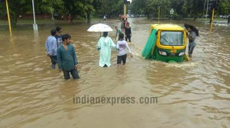 chandigarh flood, rainfall, chandigarh pics, flood images, chandigarh flood pics, punjab flood, chandigarh weather today, indian express