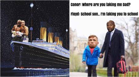 Floyd Mayweather, Conor McGregor, mayweather vs mcgregor, mayweather vs mcgregor jokes, mayweather vs mcgregor memes, mayweather vs mcgregor match, mayweather vs mcgregor simpsons, mayweather vs mcgregor spooning, sports news, indian express