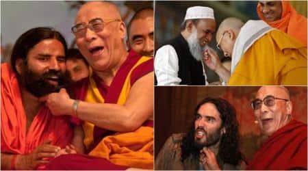 dalai lama, dalai lama beard, dalai lama tugs at beard, dalai lama ramdev baba, ramdev baba, russell brand, indian monk, tibetan monk, indian express, indian express news