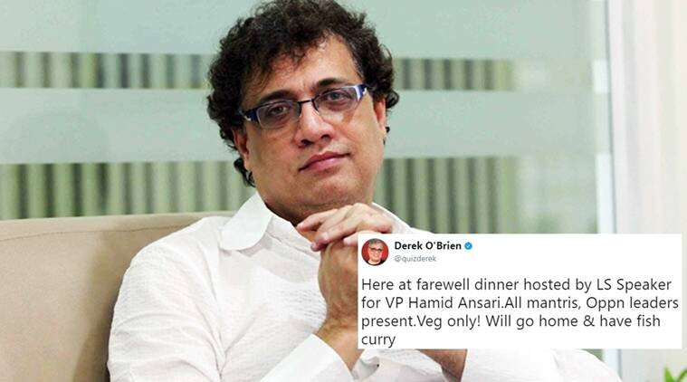 derek o'brien, derek o'brien twitter, derek o'brien tweets latest, derek o'brien at hamid ansari farewell dinner, derek o'brien funny tweets, derek o'brien trinamool congress mp, indian express, indian express news