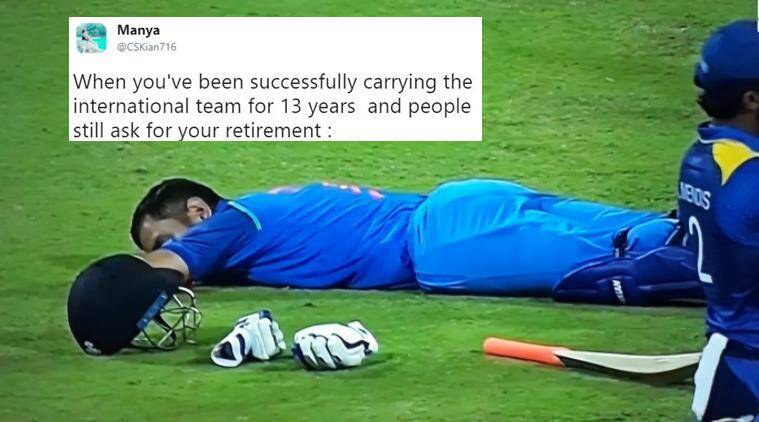 ms dhoni, dhoni, dhoni sleeps, dhoni sleeping mid field, indvsl, dhoni sleep ind vs sl, india vs sl