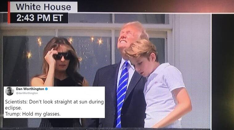 donald trump, donald trump memes, donald trump solar eclipse, donald trump solar eclipse memes, trump eclipse memes, trump eclipse twitter memes, trump looking at eclipse memes, donald trump eclipse twitter memes, indian express, indian express news