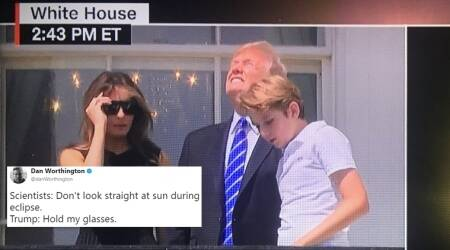 Donald Trump looking at total solar eclipse WITHOUT glasses has got the Internet trolling
