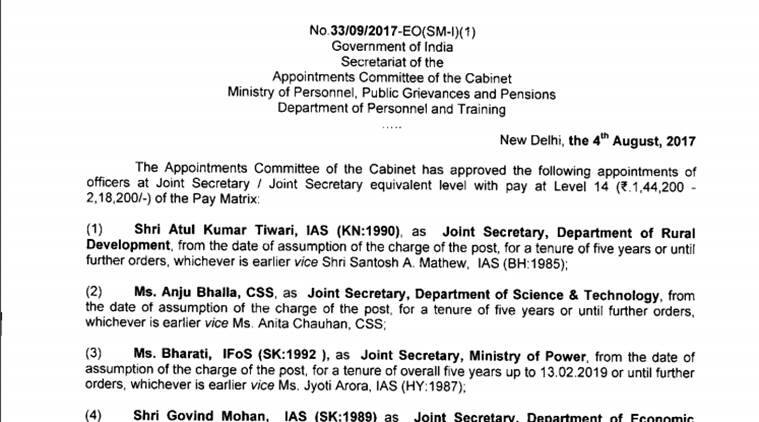 joint secretaries appointed, bureaucratic reshuffle, Department of Personnel and Training, indian express news