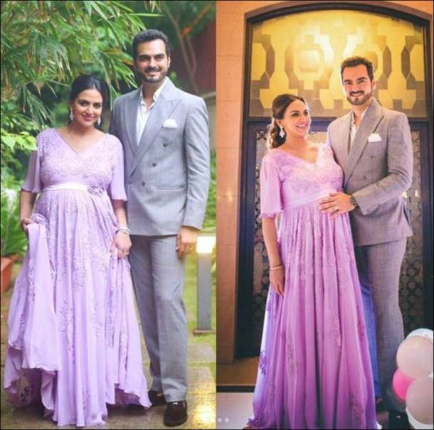 Photos Bollywood Baby Showers Esha Deol Kisses Husband Bharat And