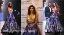 LFW W/F 2017: Esha Gupta wows in blue and gold for Amit Aggarwal on Day 3