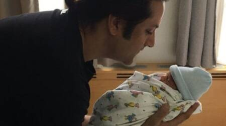 Fardeen Khan shares adorable picture of newborn son; thanks fans for wishes. See photo