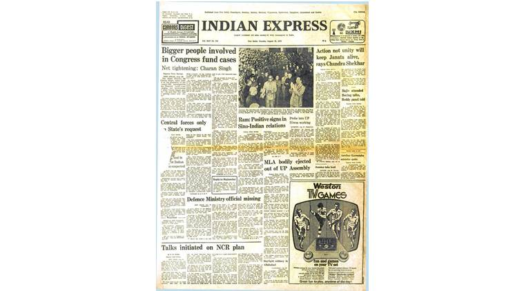 forty years ago, front page, indian express front page, indian express editorial