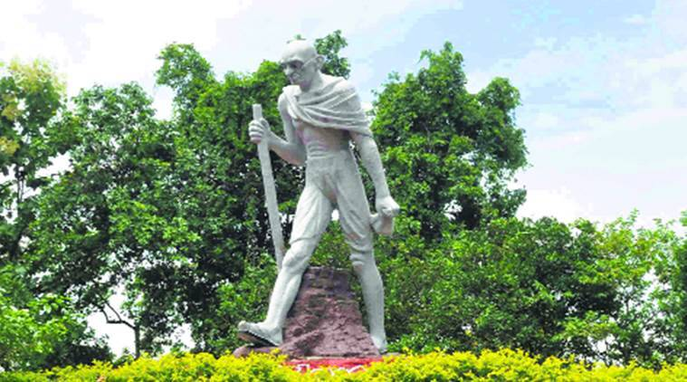 Assam, Sarbananda Sonowal, Mahatma Gandhi, Gandhi statue, India news, Indian express