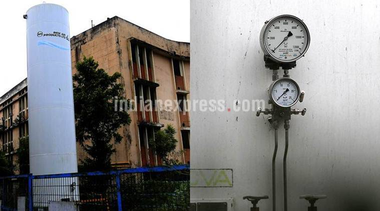 The main Oxygen gas supply unit of the BRD Medical University seen closed its level meter shows zero. Express