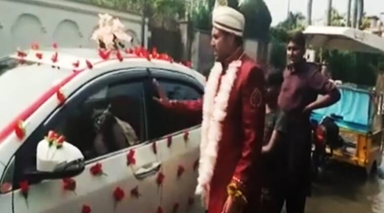 funny pakistan viral videos, groom pushing car in flood waters pakistan viral, funny viral videos from pakistan, groom stuck in waters in pakistan, groom stuck in flood waters pakistan video viral, indian express, indian express news