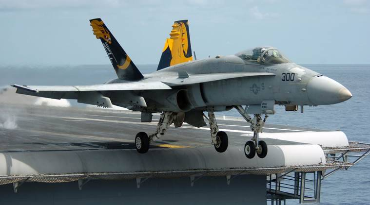 US F-18 fighter jet crash lands at Bahrain International Airport, pilot ejects safely