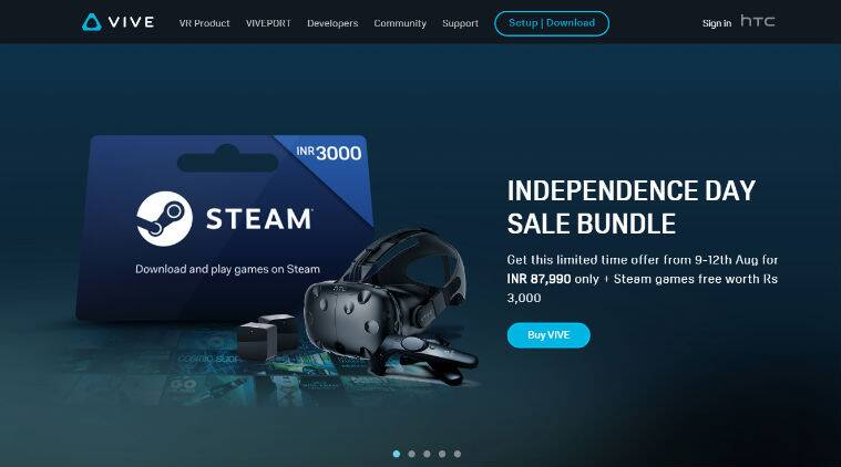 HTC, HTC Vive, HTC Vive Independence Day bundle, HTC Vive price in India, HTC Vive features