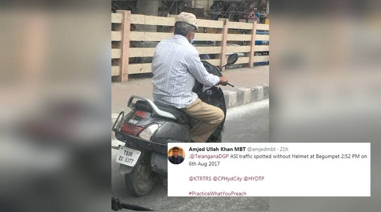 hyderabad politician, politician teaching traffic police lesson, hyderabad politician tweeting pictures of policemen, road safety, indian express, indian express news