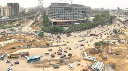 gurgaon, gurgaon flyover open, iffco chowk, iffco chowk traffic, independence day, indian express news, india news, delhi news