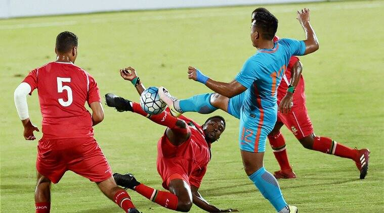 india vs st kitts and nevis, st kitts and nevis, india football team, jhingan, robin singh, subrata paul, tri-nation series, football, sports news, indian express