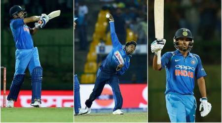 India vs Sri Lanka, MS Dhoni, Bhuvneshwar Kumar, Akila Danajaya, sports gallery, cricket, Indian Express