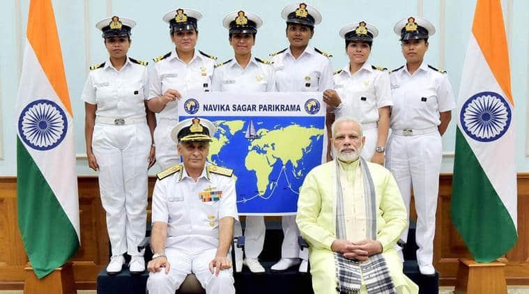 woman circumnavigating team, indian navy, women circumnavigation expedition, nirmala sitharaman, insv tarini, indian express