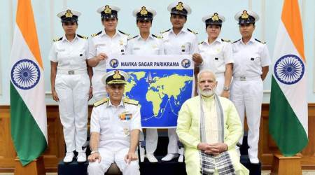 All-women crew of Indian navy, selected to circumnavigate the world, meets PM Modi
