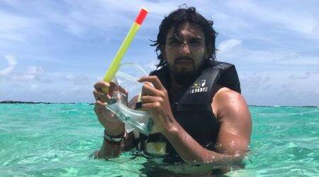 Ishant Sharma trying to find some seam and bounce under water; see pics