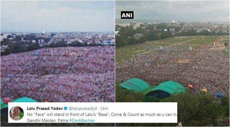 lalu prasad yadav, lalu fake tweet, lalu rally, lalu anti bjp rally, lalu photoshopped rally photo, indian express, indian express news