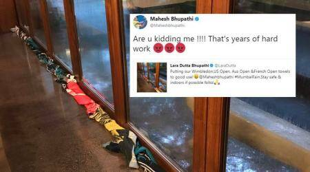 Mumbai Rains: Lara Dutta uses Mahesh Bhupathi's towels to block rainwater; HE hates it, tweeple love it!