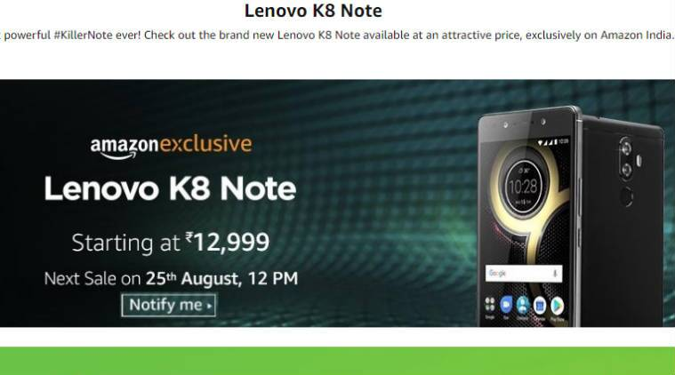 Lenovo K8 Note Amazon sale at 12 PM: All you need to know