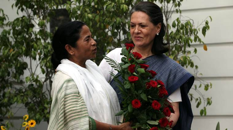 Trinamool Congress chief Mamata Banerjee with Congress leader Sonia Gandhi.