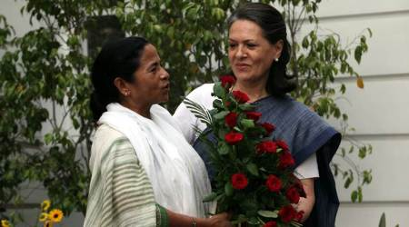 Trinamool Congress chief Mamata Banerjee with Congress leader Sonia Gandhi.