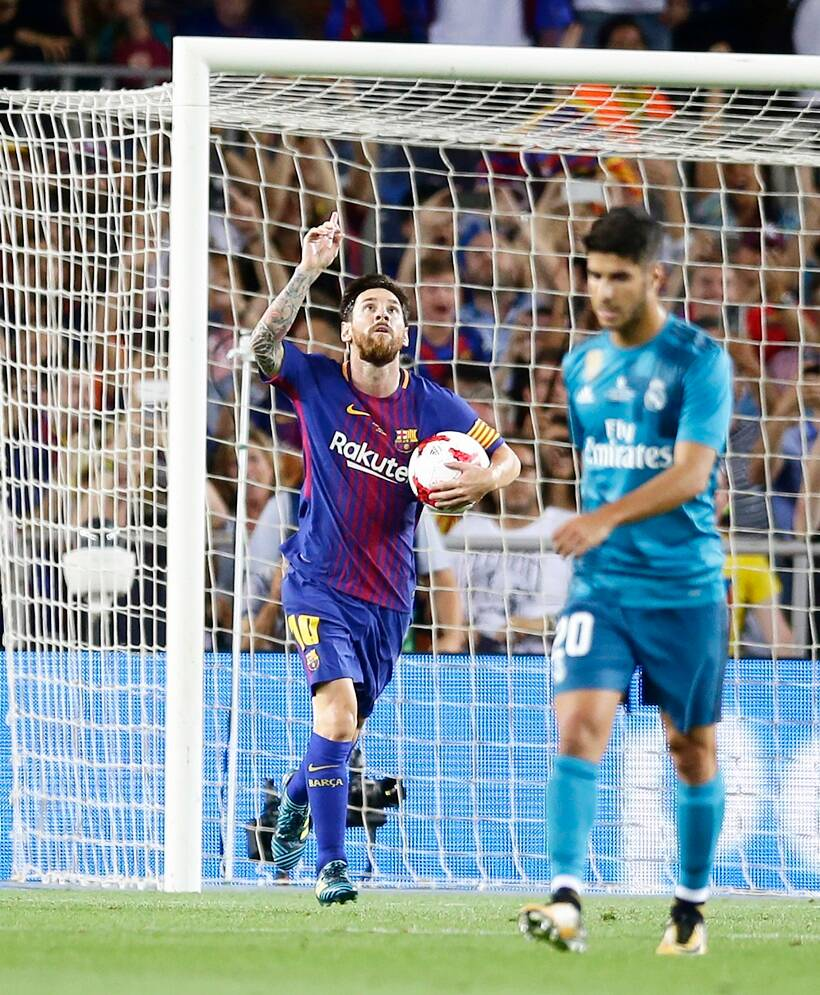 Barcelona vs Real Madrid, Spanish Super Cup 1st leg, Cristiano Ronaldo, El Clasico, Lionel Messi, sports gallery, football, Indian Express