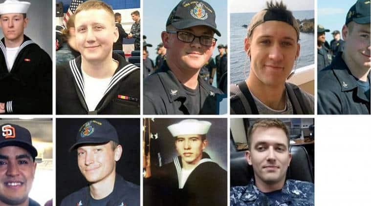 US sailors missing, US sailors missing recovered, USS McCain collision, USS McCain collision sailors missing, US sailors bodies recovered, world news, indian express news