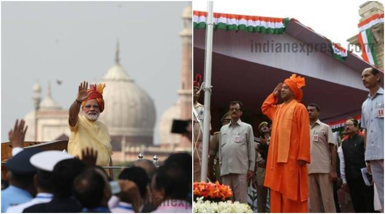 Narendra Modi and Uttar Pradesh CM Yogi Adityanath during Independence Day speeches