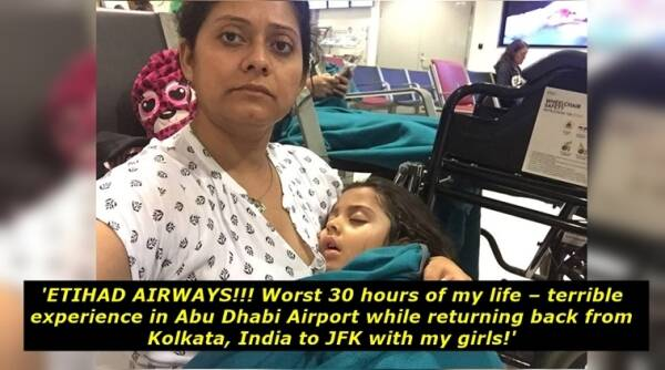 etihad airways, etihad airways indian mom with two kids, mom with two kids stranded at abu dhabi etihad viral facebook story, etihad airlines and abu dhabi negligence story viral, indian express, indian express news