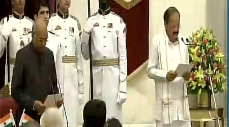 venkaiah naidu, naidu swearing in, naidu swearing in live updates, vice president swearing in, venkaiah naidu oath taking ceremony, naidu news, indian express news