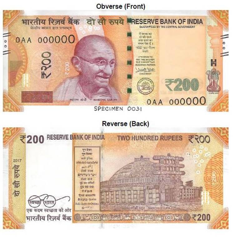 new 200 note, rs 200 note, rbi, rbi new note, new rs 200 note, new currency note, photo of new rs 200 note, indian express news