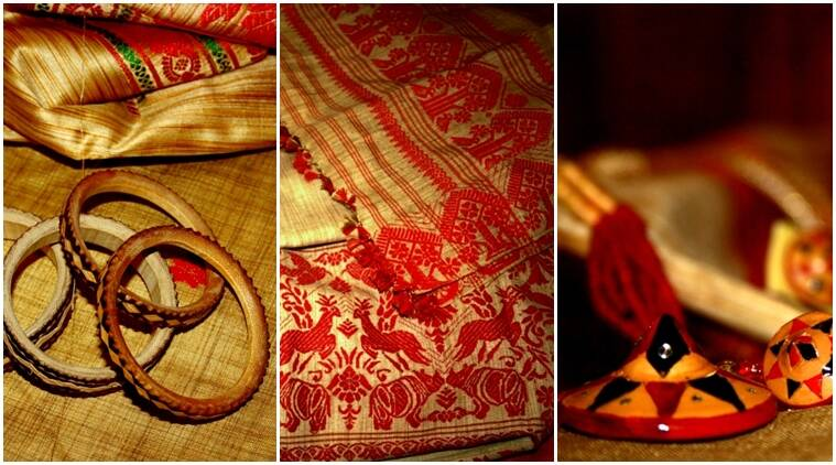 national handloom day, different kinds of handloom saris, handloom saris from north east, jewellery from north east, indian express, indian express news