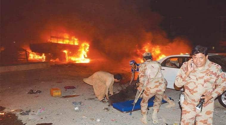 Pakistan army truck blast, Balochistan army truck blast, Suicide blast Quetta Balochistan, Pishin bus stop Quetta, Quetta Law College, Pakistan suicide blast, Pakistan attacks, Pakistan news, World news, Indian Express News