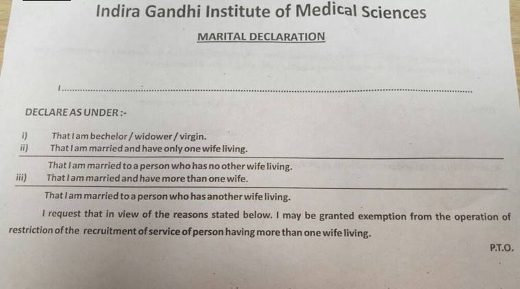 Bachelor, widower, virgin? Bihar hospital asks staff in marital declaration form