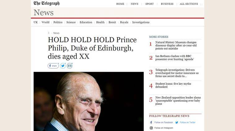 The Daily Telegraph accidentally publishes article announcing Prince Philip's death